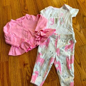Baby Girl 3 Month 3 Piece Unicorn Outift